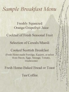 Example Breakfast Menu August 2013