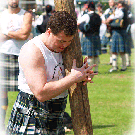 Tossing the caber at the Highland games